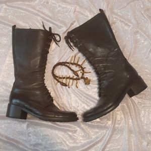 Kenneth Cole Lace Up Leather Tall Brown Boots